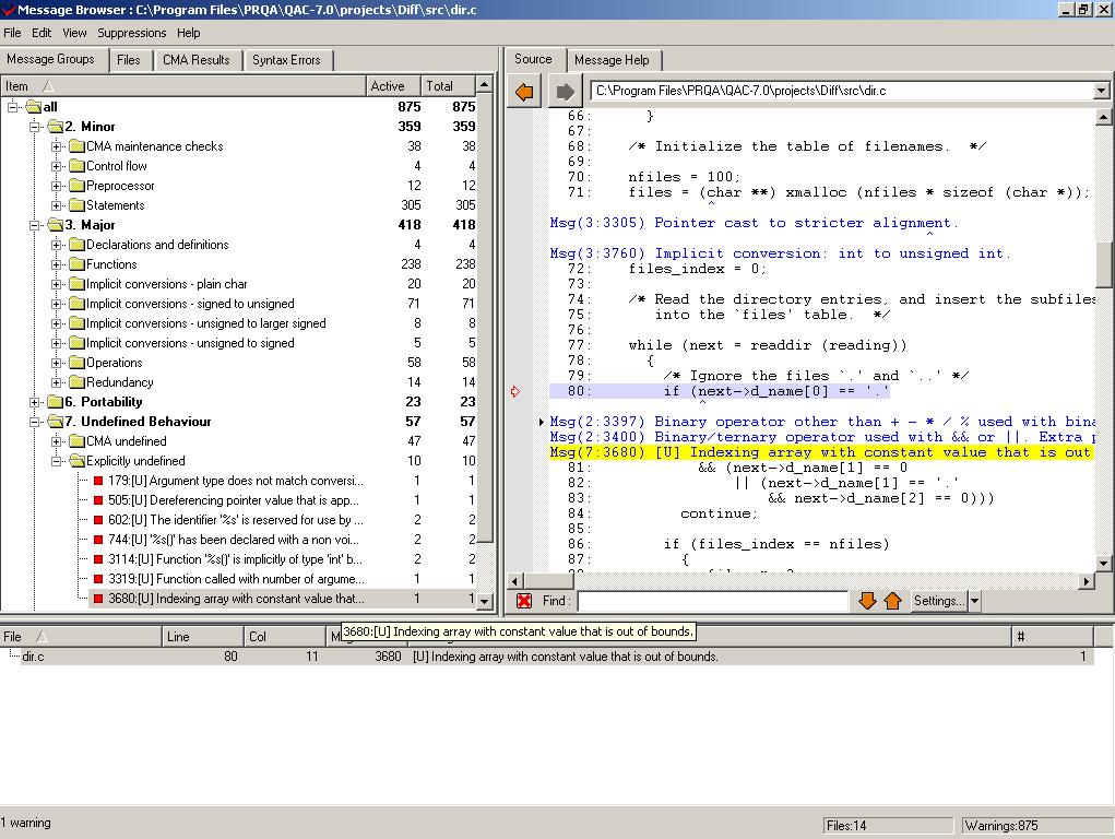 QA-C Static analysis